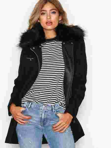 Biker Fur Coat - Nly Trend - Musta - Takit - Vaatteet - Nainen ... 272c6c762f
