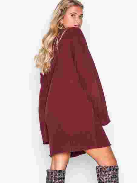 8f667a983f2 Long Knit Sweater - Nly Trend - Wine Red - Jumpers   Cardigans ...
