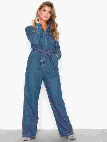 cef21e8c098 Denim Boiler Suit - Nly Trend - Blue Wash - Jumpsuits - Clothing ...
