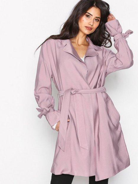 NLY Trend Wrapped Trench Coat Pitkät takit Vaalea pinkki thumbnail