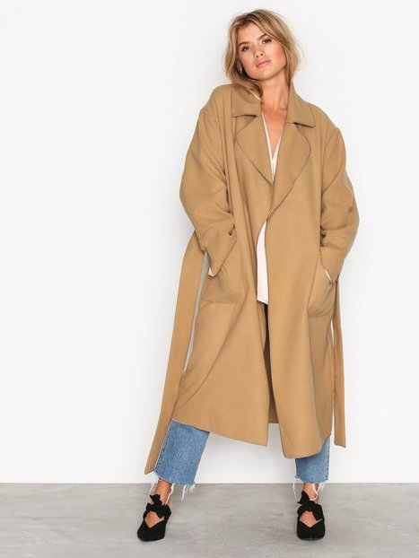 NLY Trend Wrapped Long Coat Kappor Beige thumbnail