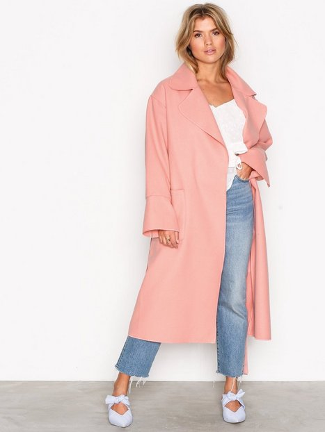 NLY Trend Wrapped Long Coat Kappor Rosa thumbnail
