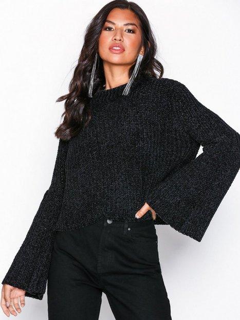 Billede af NLY Trend Wide Sleeve Chenille Strikkede trøjer Sort