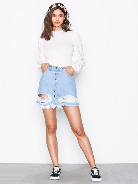 Ripped Mini Denim Skirt