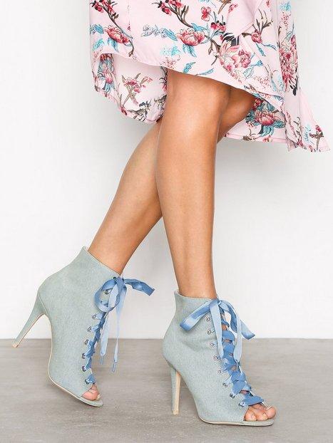 Billede af NLY Shoes Open Toe Bootie Lace Up Denim