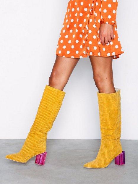 Billede af NLY Shoes Corduroy Glass Heel Boot Knee-high Mustard