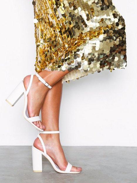 NLY Shoes Strap Heel Block Sandal High Heel Hvid