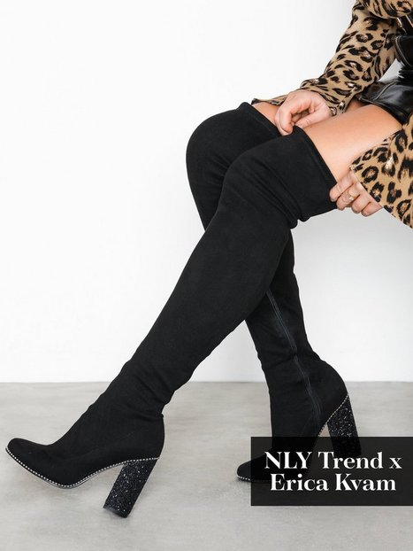 Billede af NLY Shoes Glam Thigh High Boot Thigh-high Sort