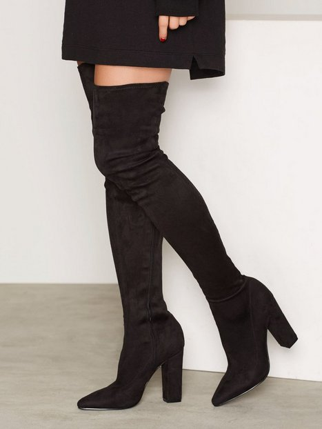 Billede af NLY Shoes Pointy Stretchy Block Thigh Boot Boots Sort