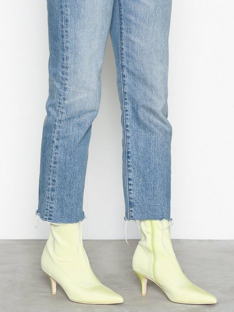 NLY Shoes Stretchy Boot Heel Neon Yellow