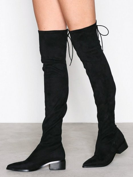 Billede af NLY Shoes Pointy Flat Thigh High Boot Thigh-high Sort