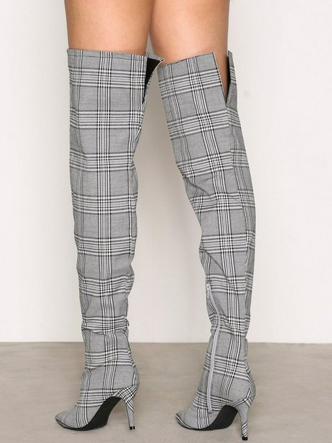 Checked Thigh High Boot