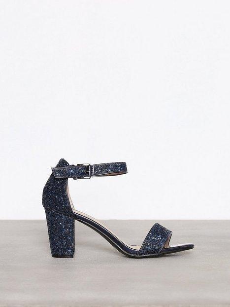 Billede af NLY Shoes Block Mid Heel Sandal Low Heel Blå