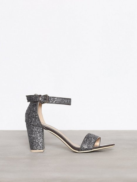 Billede af NLY Shoes Block Mid Heel Sandal Low Heel Grå/Blå