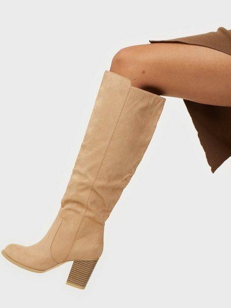 Billede af NLY Shoes Block Knee High Boot Knee-high Beige