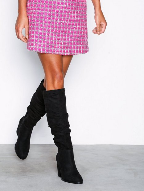 NLY Shoes Drop Knee High Boot Knee-high Sort