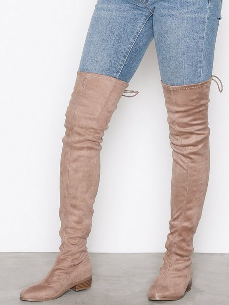 Billede af NLY Shoes Flat Thigh High Boot Over the knee Beige