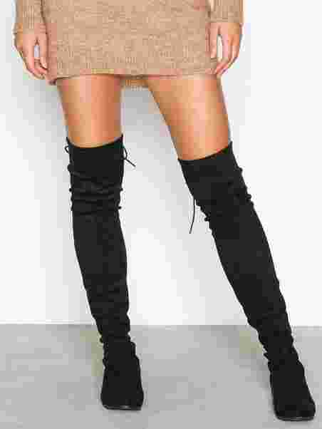 6b7890f166d Flat Thigh High Boot - Nly Shoes - Black - Boots - Shoes - Women ...