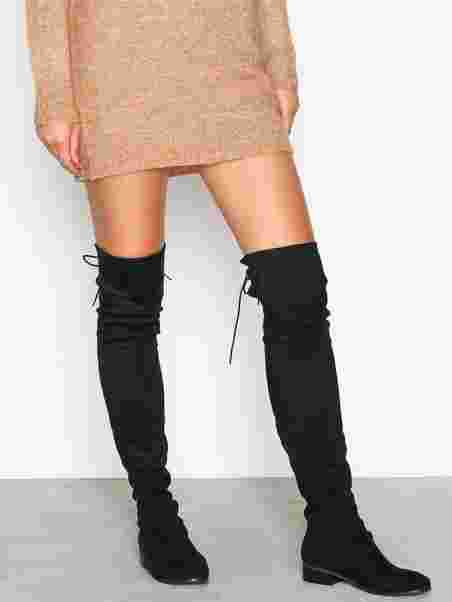 6a5d3426cb Flat Thigh High Boot - Nly Shoes - Black - Boots - Shoes - Women ...