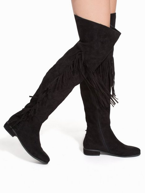 Thigh High Fringe Boot - Nly Shoes - Black - Boots - Shoes - Women ...