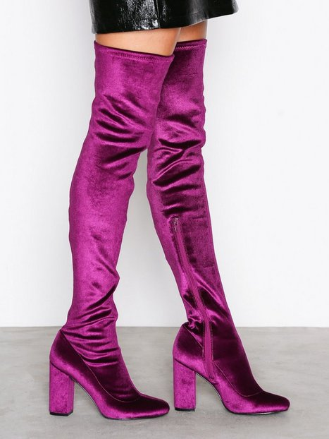 Billede af NLY Shoes Block Heel Thigh Boot Knee High Berry