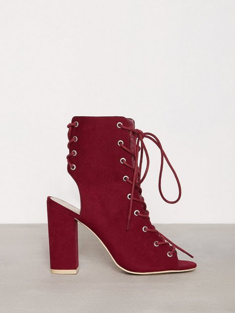 Billede af NLY Shoes Lace Up Block Sandal Lace Up Burgundy