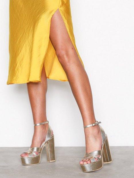 Billede af NLY Shoes Platform Strap Sandal Heels Light Gold