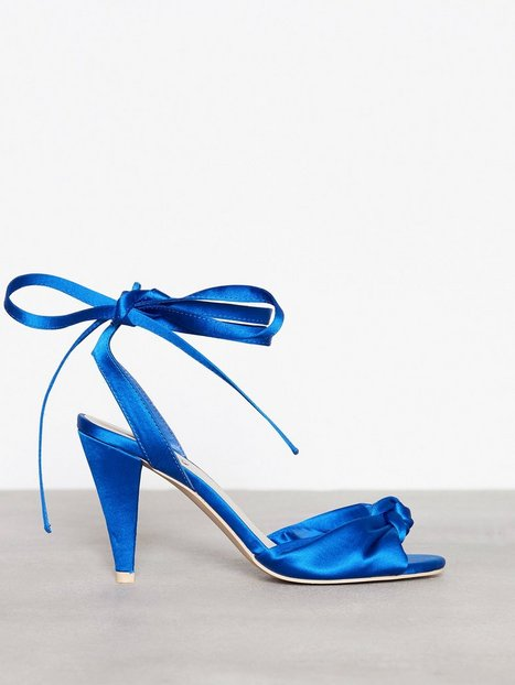 NLY Shoes Lace Up Bow Sandal High Heel Blå