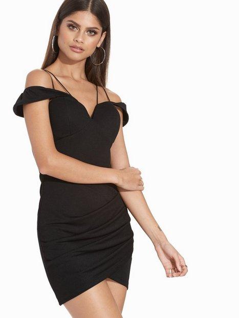 Billede af Rare London Cord Detail Off Shoulder Wrap Mini Dress Kropsnære kjoler Black