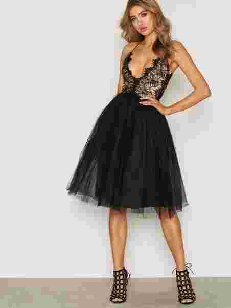 cbb5842a873 Lace Panel Midi Dress - Rare London - Black - Party Dresses ...