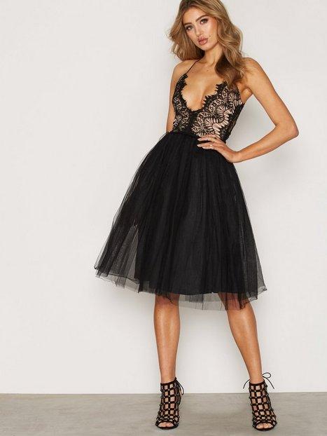 Lace Panel Midi Dress Rare London Black Party