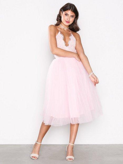 Billede af Rare London Lace Panel Midi Dress Skaterkjole Light Pink