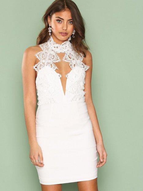 Billede af Rare London High Neck Plunge Lace Mini Dress Kropsnære kjoler White