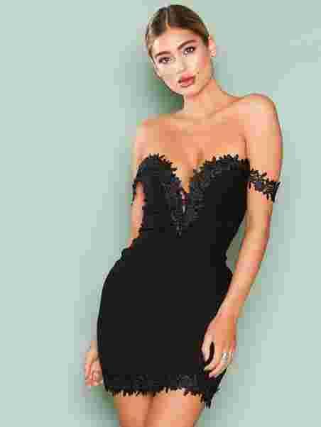 41b19e709ad Crochet Trim Bardot Dress - Rare London - Black - Party Dresses ...