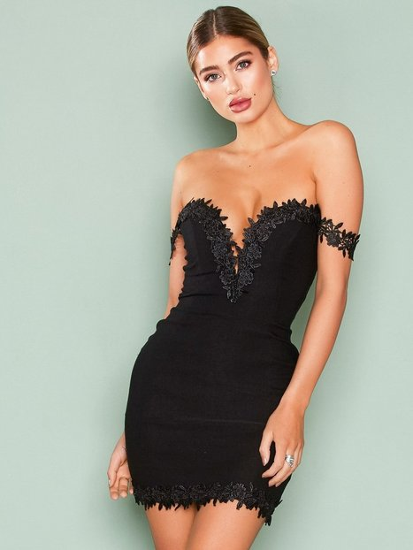 Billede af Rare London Crochet Trim Bardot Dress Kropsnære kjoler Black