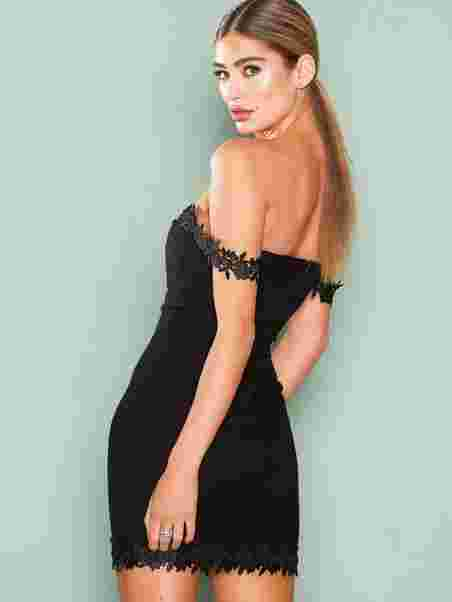 Crochet Trim Bardot Dress - Rare London - Black - Party Dresses ... 4acde3ae5