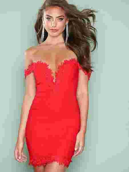 Crochet Trim Bardot Dress Rare London Red Party Dresses