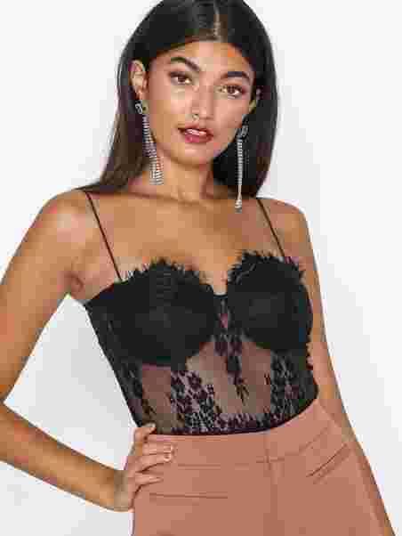 0a508079aeb Lace Bodysuit - Rare London - Black - Tops - Clothing - Women ...