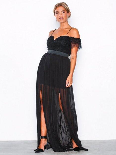 Billede af Rare London Bardot Lace Detail Maxi Dress Maxikjoler