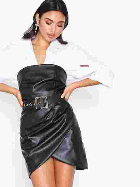 23dfad0b9f1 Pu Belted Mini Dress - Rare London - Black - Party Dresses ...