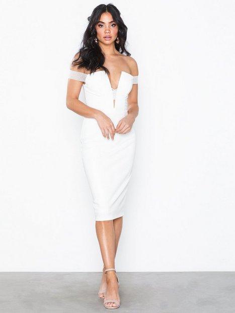 Billede af Rare London Bardot Cross Strap Midi Dress Tætsiddende kjoler