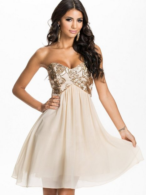 Heavily Embellished Bandeau Prom Dress - Little Mistress - Cream ...