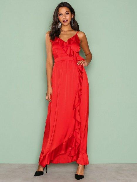 Wrap Ruffle Front Maxi Dress - Little Mistress - Red - Partykleider ...
