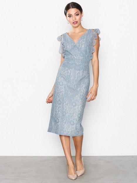 Billede af Little Mistress Lace Plated Dress Kropsnære kjoler Dusty Blue