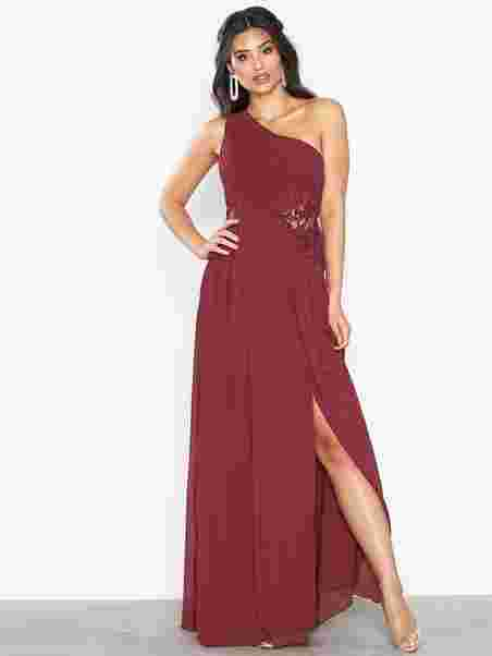 83591ad9ae836 One Shoulder Lace Maxi Dress - Little Mistress - Cranberry - Party ...
