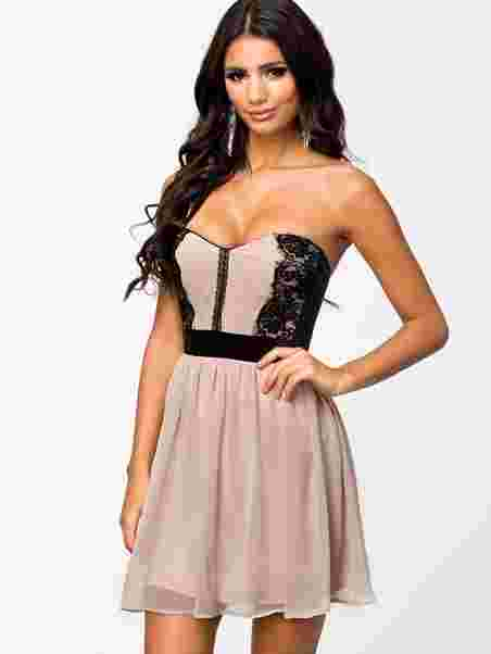 Lace Bandeau Skater Dress - Elise Ryan - Nude Black - Party Dresses ... 623dfdf53