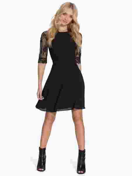 64844e512b53 Short Chiffon Lace Dress - Elise Ryan - Black - Party Dresses ...