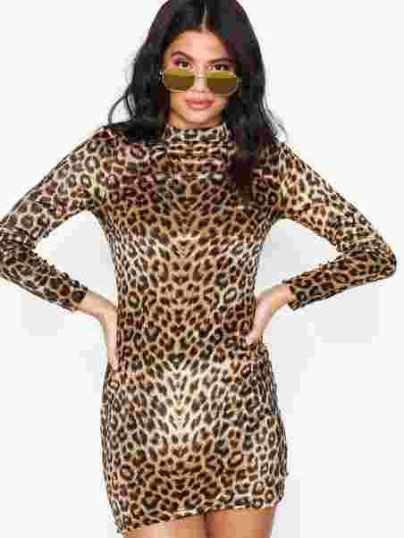 5af336b901 Leopard Print Velvet High Neck Dress - Parisian - Leopard - Dresses ...