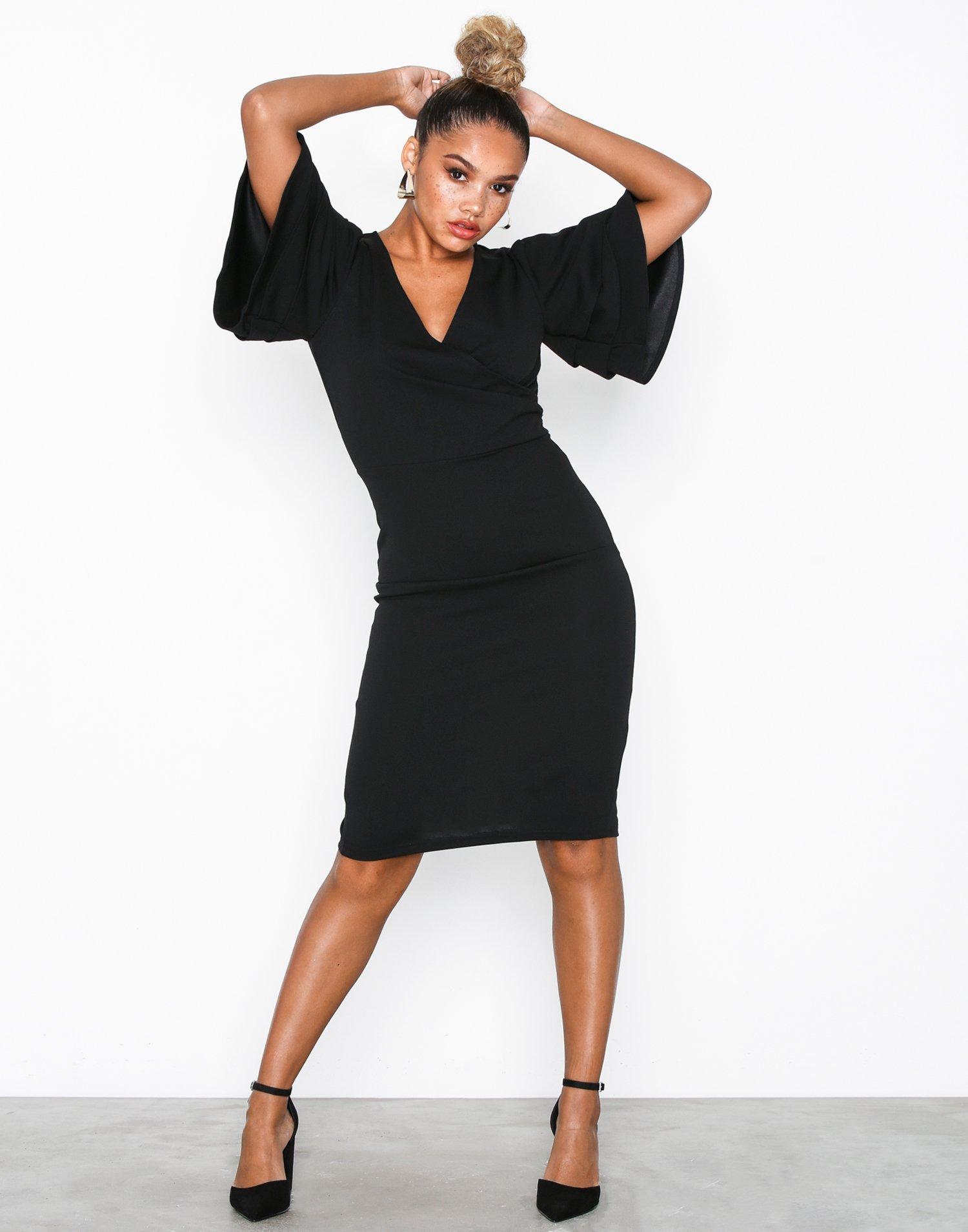 Sleeve Dress Black Bodycon Frill Front Wrap Parisian XwPZiTkOul