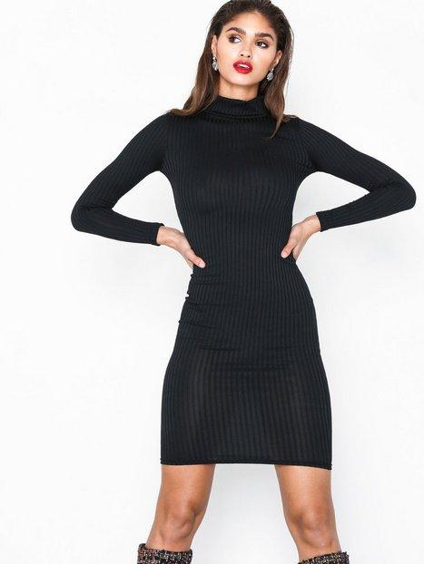 Billede af Parisian High Neck Skinny Rib Midi Dress Kropsnære kjoler Black